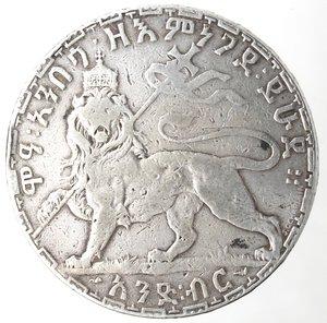 reverse: Monete Estere. Etiopia. Menelik II. 1889-1913. Birr 1892. Ag 835. Km. 19. Peso gr. 27,77. qBB.