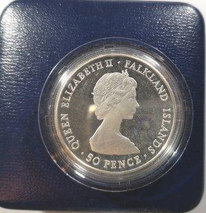 obverse: Monete Estere. Falkland. 50 pence 1980. Ag 925. Km. 15a. Peso gr. 28,28. FDC Proof. In confezione.