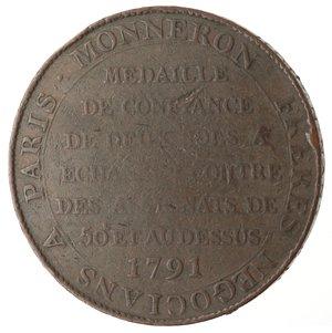 reverse: Monete Estere. Francia. Moneta-medaglia da due sols 1791.Ae. V.G. 233. Peso gr. 16,45. Diametro mm. 31,50. MB. R.