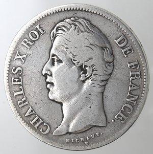 obverse: Monete Estere. Francia. Carlo X.1824-1830.5 Franchi 1827 W. Lille. Ag. Km. 728.13. Peso gr. 24,70. Diametro mm. 37. MB+.