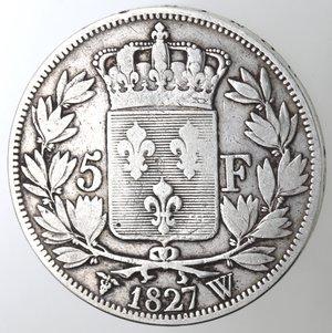 reverse: Monete Estere. Francia. Carlo X.1824-1830.5 Franchi 1827 W. Lille. Ag. Km. 728.13. Peso gr. 24,70. Diametro mm. 37. MB+.