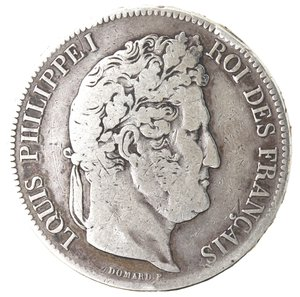 obverse: Monete Estere. Francia. Luigi Filippo I.1830-1848.5 Franchi 1841 A. Parigi. Ag. Km. 749.1. Peso gr. 24,55. Diametro mm. 37. MB.