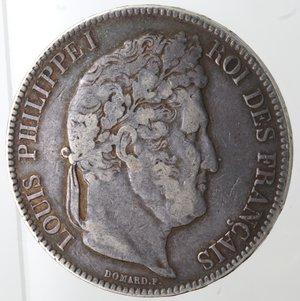 obverse: Monete Estere. Francia. Luigi Filippo I.1830-1848.5 Franchi 1843. Rowen. Ag. Km. 749.1. Peso gr. 24,66. Diametro mm. 37. qBB.Patina.