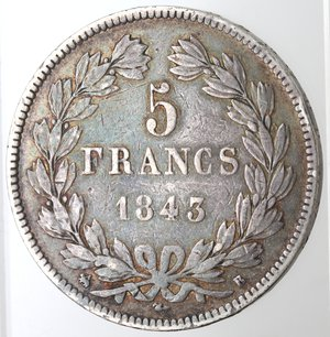 reverse: Monete Estere. Francia. Luigi Filippo I.1830-1848.5 Franchi 1843. Rowen. Ag. Km. 749.1. Peso gr. 24,66. Diametro mm. 37. qBB.Patina.