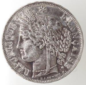 obverse: Monete Estere. Francia. Repubblica. 5 Franchi 1850 BB. Ag. Km. 761.2. Peso gr. 24,90. BB.NC.