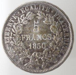 reverse: Monete Estere. Francia. Repubblica. 5 Franchi 1850 BB. Ag. Km. 761.2. Peso gr. 24,90. BB.NC.