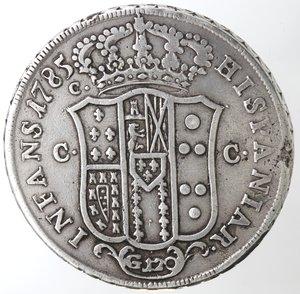 Zecche Italiane. Napoli. Ferdinando IV. 1759-1799. Piastra 1785. Ag. Peso gr. 26,27. Magliocca 242. Colpo al bordo al rovescio altrimenti BB. R.