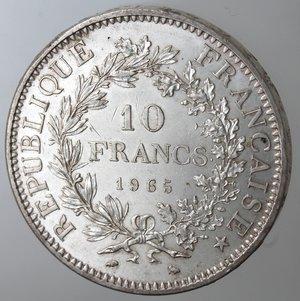 obverse: Monete Estere. Francia. 10 Franchi 1965. Ag. Km. 932. Peso gr. 25. Diametro mm. 37.qFDC.