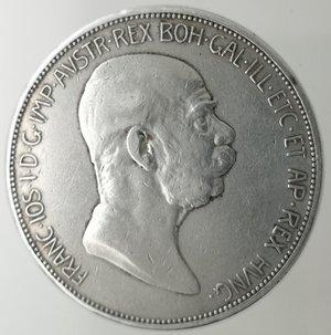 obverse: Monete Estere. Austria. Francesco Giuseppe I. 1848-1916. 5 Corona 1908. Ag 900. Peso 23,80 gr. Diametro mm. 35. qBB.