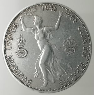 reverse: Monete Estere. Austria. Francesco Giuseppe I. 1848-1916. 5 Corona 1908. Ag 900. Peso 23,80 gr. Diametro mm. 35. qBB.