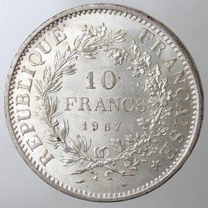 obverse: Monete Estere. Francia. 10 Franchi 1967. Ag. Km. 932. Peso gr. 25. Diametro mm. 37.qFDC.