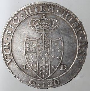 Zecche Italiane. Napoli. Ferdinando IV.1799-1805. Piastra 1805. Ag. Magliocca 392. Peso 27,22 gr. Diametro 38 mm. Bel BB.Colpetti al bordo.
