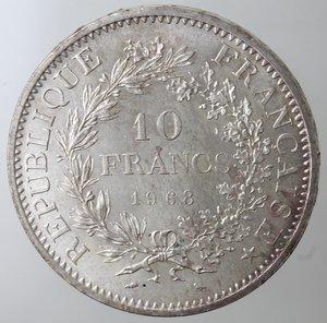 obverse: Monete Estere. Francia. 10 Franchi 1968. Ag. Km. 932. Peso gr. 25. Diametro mm. 37.qFDC.