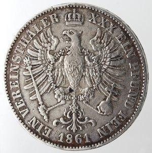 reverse: Monete Estere.Germania-Prussia.Guglielmo I. 1861-1888.Tallero 1861 A.Ag. KM 489.Peso gr. 18,35. BB.