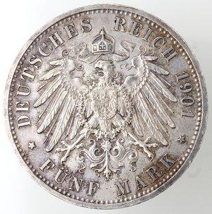 reverse: Monete Estere.Germania-Prussia.Guglielmo II. 1888-1918.5 marchi 1901.Ag. KM 525.Peso gr. 27,84. SPL. Piccolo colpetto al bordo.