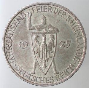 obverse: Monete Estere. Germania. 5 Reichsmarks  A 1925. Ag 500. peso gr. 25,07. SPL. NC.