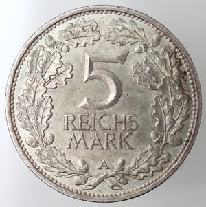 reverse: Monete Estere. Germania. 5 Reichsmarks  A 1925. Ag 500. peso gr. 25,07. SPL. NC.
