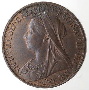 obverse: Monete Estere.Gran Bretagna. Vittoria. 1837-1901. Penny 1896. Ae. KM 790. Peso gr. 9,50. qFDC. Residui di rame rosso.