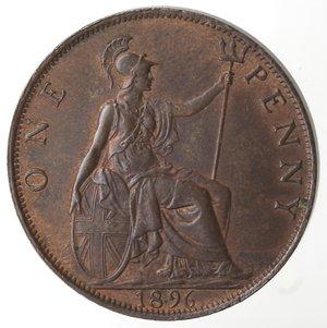 reverse: Monete Estere.Gran Bretagna. Vittoria. 1837-1901. Penny 1896. Ae. KM 790. Peso gr. 9,50. qFDC. Residui di rame rosso.