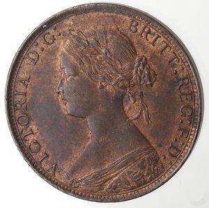 obverse: Monete Estere.Gran Bretagna. Vittoria. 1837-1901. 1/2 Penny 1861. Ae. KM 748.2. Peso gr. 5,50. Insignificante graffietto sotto il mento altrimenti FDC. Rame rosso.