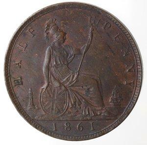 reverse: Monete Estere.Gran Bretagna. Vittoria. 1837-1901. 1/2 Penny 1861. Ae. KM 748.2. Peso gr. 5,50. Insignificante graffietto sotto il mento altrimenti FDC. Rame rosso.