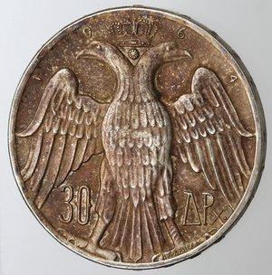 reverse: Monete Estere. Grecia. Costantino II. 1964-1973. 30 Dracme 1964. Ag 835. Km. 856. Peso gr. 12. Diametro mm. 30,30. qSPL. Lucidata al diritto.