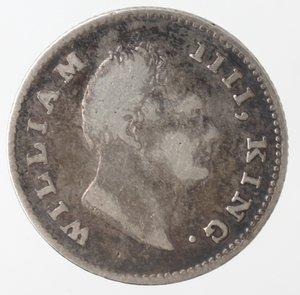 obverse: Monete Estere. India. William IIII. 1/4 Rupia 1835. Ag 917. Km. 448. Peso gr. 2,79. qBB.