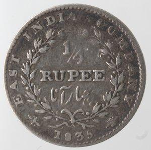 reverse: Monete Estere. India. William IIII. 1/4 Rupia 1835. Ag 917. Km. 448. Peso gr. 2,79. qBB.