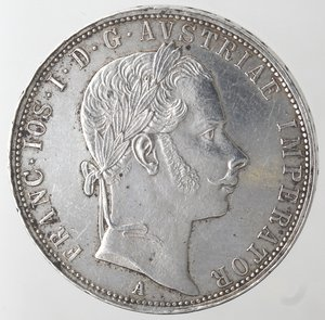 obverse: Monete Estere. Austria. Francesco Giuseppe I. 1848-1916. Fiorino 1858 A. Ag. Peso 12,30 gr. Diametro mm. 29. Piccoli colpetti altrimenti qFDC.