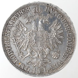 reverse: Monete Estere. Austria. Francesco Giuseppe I. 1848-1916. Fiorino 1858 A. Ag. Peso 12,30 gr. Diametro mm. 29. Piccoli colpetti altrimenti qFDC.