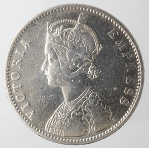 obverse: Monete Estere. India. Vittoria. Rupia 1880. Ag 917. Km. 492. Peso gr. 11,45. BB. Pulita.