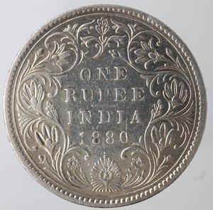 reverse: Monete Estere. India. Vittoria. Rupia 1880. Ag 917. Km. 492. Peso gr. 11,45. BB. Pulita.