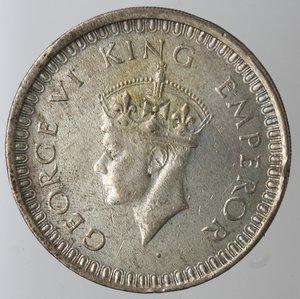 obverse: Monete Estere. India. Giorgio VI. Rupia 1942. Ag 500. Km. 557.1. Peso gr. 11,74. SPL. Colpo al bordo. Patinata.