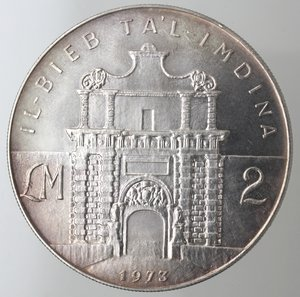 reverse: Monete Estere. Malta. 2 Lire Maltesi 1973. Ag 987. Km. 20. Peso 20,00 gr. Diametro 38,00 mm. FDC. Proof.