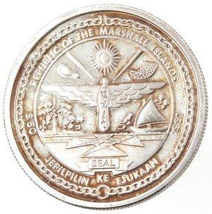 obverse: Monete Estere. Isole Marshall. 50 Dollari 1991. Ag 999. Km. 80. Peso gr. 31,16. Diametro mm. 38,50.FDC Proof.