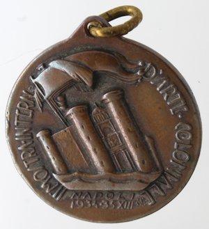 reverse: Medaglie fasciste. Medaglia Napoli. 1934-1935. Ae. II Mostra d arte Coloniale. Diametro mm. 28. SPL.