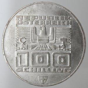 obverse: Monete Estere. Austria. Repubblica. 100 Shilling 1976. Ag. Peso gr. 23,82. SPL+.
