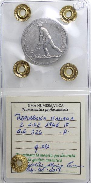 obverse: Repubblica Italiana. 2 Lire 1946. It. Gig 324. qSPL. Colpetto al bordo. Perizia Marco Esposito. R.