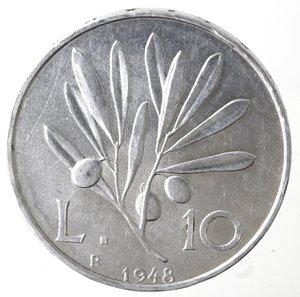 reverse: Repubblica Italiana. 10 lire 1948 Ulivo. It. Gig 231. BB. Colpetti al bordo. NC.