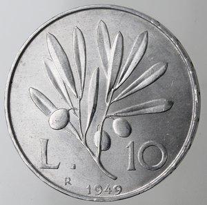 reverse: Repubblica Italiana. 10 Lire 1949 Ulivo. It. Gig 232. SPL/qFDC.