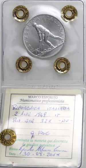 obverse: Repubblica Italiana. 2 lire 1949 Spiga. It. Gig 327. qFDC. Perizia Marco Esposito. NC.