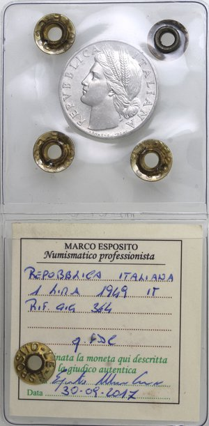 obverse: Repubblica Italiana. 1 lira 1949 Arancia. It. Gig 364. qFDC. Perizia Marco Esposito.