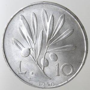 reverse: Repubblica Italiana.10 Lire 1950 Ulivo. It. Gig.233.qFDC.