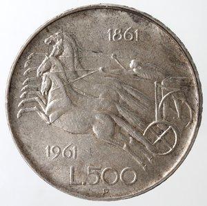 reverse: Repubblica Italiana. 500 Lire 1961 Unità d Italia. Ag. Gig. 41. SPL+.