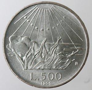 reverse: Repubblica Italiana. 500 Lire 1965 Dante. Ag. Gig. 42. qFDC.
