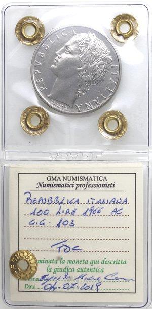 obverse: Repubblica Italiana. 100 Lire 1966 Minerva. Ac. Gig. 103. FDC. Perizia Marco Esposito.