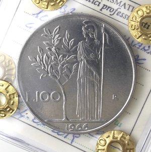 reverse: Repubblica Italiana. 100 Lire 1966 Minerva. Ac. Gig. 103. FDC. Perizia Marco Esposito.
