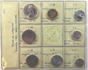obverse: Repubblica Italiana. Serie divisionale 1969. 8 valori con 500 Lire. Ag. Gig. S.2. FDC. In confezione originale della Zecca.