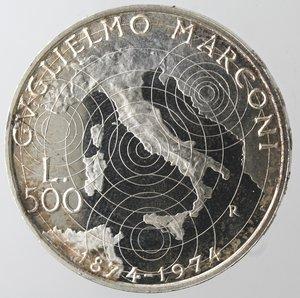 reverse: Repubblica Italiana. 500 Lire. Marconi 1974. Ag. Gig. 416. qFDC. Senza astuccio.
