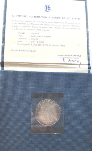 obverse: Repubblica Italiana. 500 lire 1975 Michelangelo. Ag. Gig. 417. FDC. In confezione originale della Zecca non perfetta.